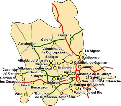 Pueblos De Sevilla Mapa.El Bribon